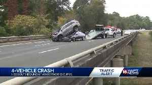 4-vehicle crash ends with SUV on top of car [Video]