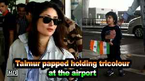 Taimur papped holding tricolour at the airport [Video]
