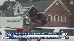 Porsche crashes into second floor of New Jersey office building [Video]