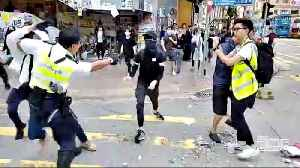 News video: Hong Kong protester shot in street confrontation with police