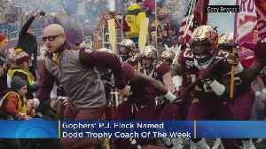 News video: Gophers' P.J. Fleck Named Dodd Trophy Coach Of The Week