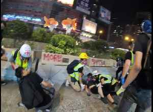 Very young Hong Kong protester is treated for rubber bullet injuries [Video]