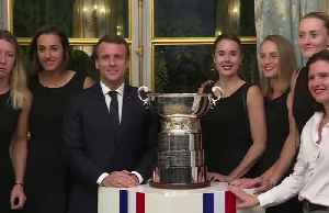 Macron welcomes France's Fed Cup champs to the Elysee Palace [Video]