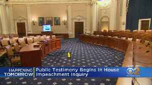 News video: Public Testimony In Trump Impeachment Inquiry Begins