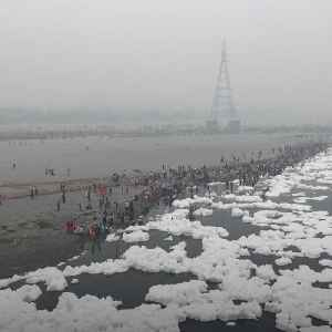 Giant toxic foam clouds takeover an Indian river [Video]