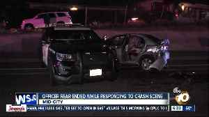 SDPD vehicle responding to crash hit by oncoming car [Video]