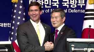 News video: Esper says it's crucial S.Korea pays more for U.S. troops