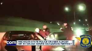Michigan State Police cruiser almost hit by drunk driver on Davison Freeway [Video]