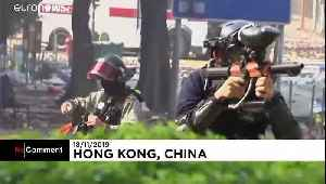 News video: Hong Kong police descend on protesters at university campus
