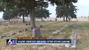 Wilder Cemetery repaired after extensive storm damage in October [Video]