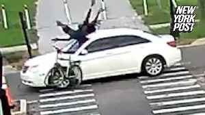 Car slams into cyclist and speeds off in dramatic hit-and-run [Video]