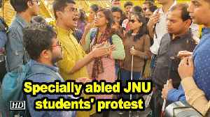 Specially abled JNU students' protest [Video]