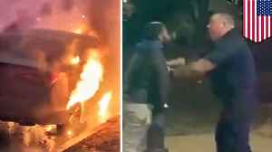 Man punches firefighters for taking too long to put out car fire [Video]