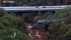 Rain and floods hit Italy and France as landslide sweeps away motorway bridge [Video]