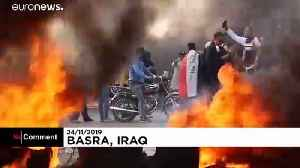 Iraq protests: Basra streets fill with black smoke, burning tyres [Video]