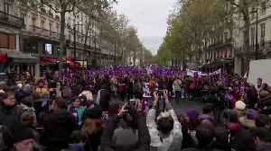 Tens of thousands march in Paris to condemn domestic violence [Video]