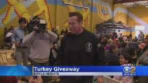 Arnold Schwarzenegger's Event Hands Out Turkeys At Hollenbeck Youth Center [Video]