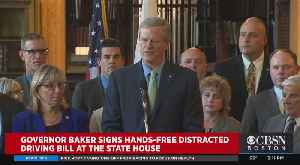 Gov. Baker Signs Hands-Free Distracted Driving Bill [Video]