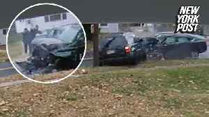 News video: Stolen car crashes head-on into SUV on a quiet street