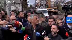 Kosovan president caught up in aftershock when visiting Albanian earthquake victims [Video]