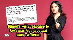 Bhumi's witty response to fan's marriage proposal wins Twitterati [Video]
