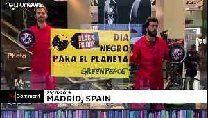 News video: Black Friday protesters picket Amazon as Greenpeace demonstrate in Madrid