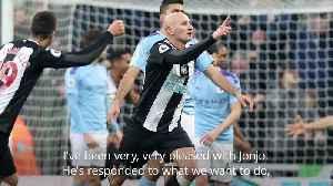 News video: Steve Bruce lauds Jonjo Shelvey's late goal against Manchester City