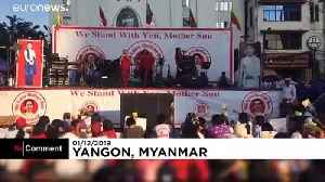 Hundreds rally in Yangon in support of Suu Kyi