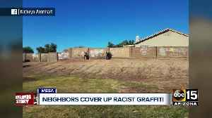 Community comes together to cover up racist graffiti in Mesa neighborhood [Video]
