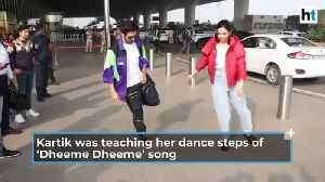 Deepika Padukone learns 'Dheeme Dheeme' hook step from Kartik Aaryan at airport [Video]