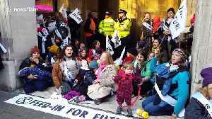 Extinction Rebellion mums stage breast-feeding protest outside Brexit Party HQ [Video]