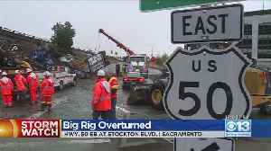 Slick Roads Lead To Big Rig Crashing Off Highway 50 [Video]