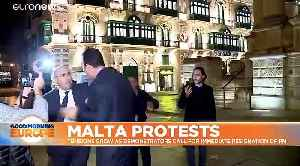 News video: Protesters call for Malta PM Muscat to immediately stand down over journalist murder investigation