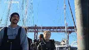 Greta Thunberg heading to COP25 in Madrid after crossing Atlantic on catamaran [Video]