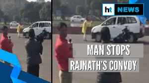 Man stops Defence Minister Rajnath Singh's convoy, detained [Video]