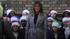 Melania Trump entertained by school choir on Salvation Army centre visit [Video]
