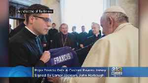 Pope Francis Gets A Custom Ravens Jersey Signed By Lamar Jackson, Coach John Harbaugh [Video]