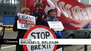 Anti-Brexit protesters gather outside British embassy in Brussels [Video]