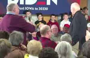 News video: At Iowa event, Biden gets into spat over his son