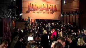 The Rock, Kevin Hart, Jack Black bring 'Jumanji' to London, Hart says he's on the mend [Video]