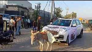 Man uses donkey to tow broken car past dealership which sold him vehicle [Video]