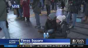 Times Square Sleep Out Raising Awareness For Homelessness [Video]