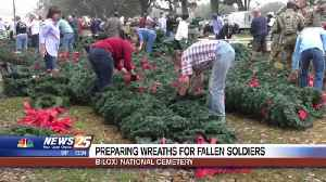 Preparing wreaths for fallen soldiers at Biloxi National Cemetery [Video]