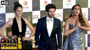 Kartik Aaryan, Sara Ali Khan & Ananya Panday At Red Carpet Of Star Screen Awards 2019 [Video]