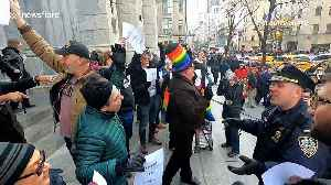 LGBT activists hold protest outside St. Patrick's Cathedral in New York City [Video]