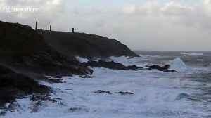 Rough waves smash against Cornwall's coast as Storm Atiyah strikes [Video]