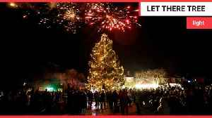 Britain's darkest village becomes illuminated with 52ft christmas tree [Video]