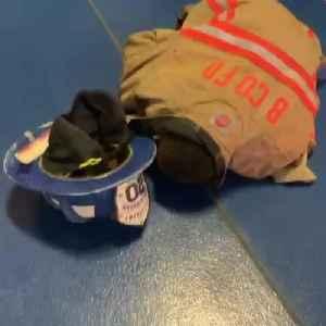 Adorable Kid Wears Fireman's Uniform And Falls On Floor Due To Heavy Helmet [Video]