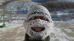 News video: Firefighters' face masks covered in snow after they train outside in sub-zero temperatures