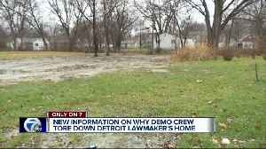 New information on why demo crew tore down Detroit lawmaker's home [Video]